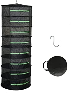 HYDGOOHO Drying Rack 8 Layer Dryer 2ft Black Mesh Green Zipper