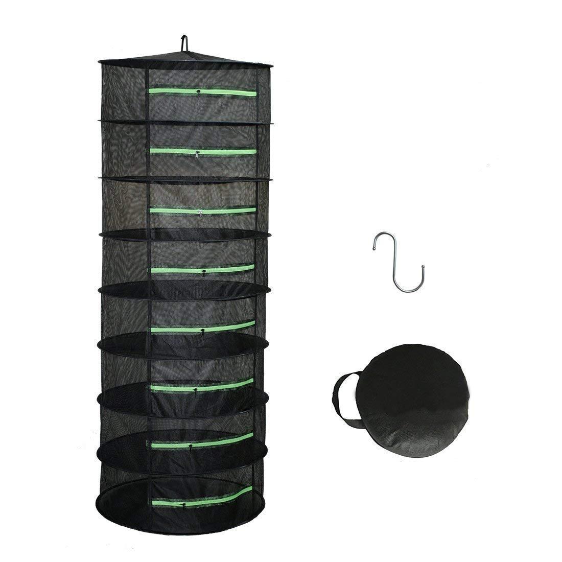 Hydgooho Herb Drying Rack 8 Layer Dryer 2ft Black Mesh Green Zipper