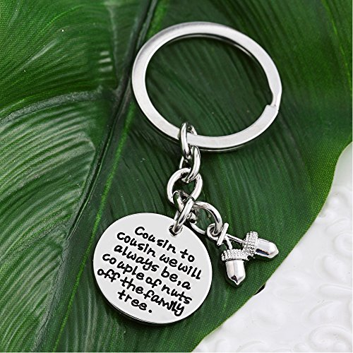 Cousin Key Chain Ring - Cousin to cousin will always be a couple of nuts off family tree - Family Gift Photo #4