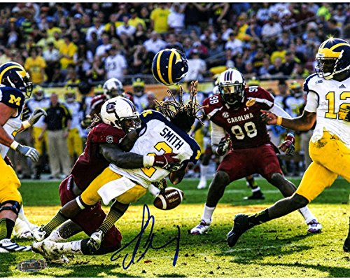 NCAA South Carolina Fighting Gamecocks Jadeveon Clowney Hit vs Michigan Signed 16x20 Photo by Steiner Sports