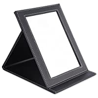 TASIPA Folding Tabletop Makeup Mirror, Desktop Mirror,Vanity Mirror with PU Leather Cover (Large)