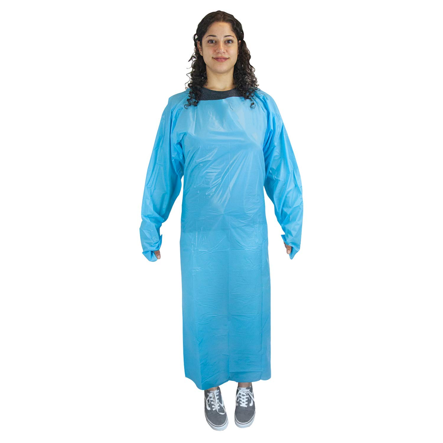 SAFE HANDLER Disposable Sleeve Gown | Open Back with Thumb Loops, 0.5 MIL, Blue, 100 Count by Safe Handler (Image #2)