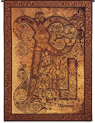 Book of Kells Chi Rho Illumination of Ancient Christogram Monogram in Name of Jesus Christ Old Latin Christian Manuscript Woven Tapestry Wall Art Hanging 100 Cotton USA Size 72×51