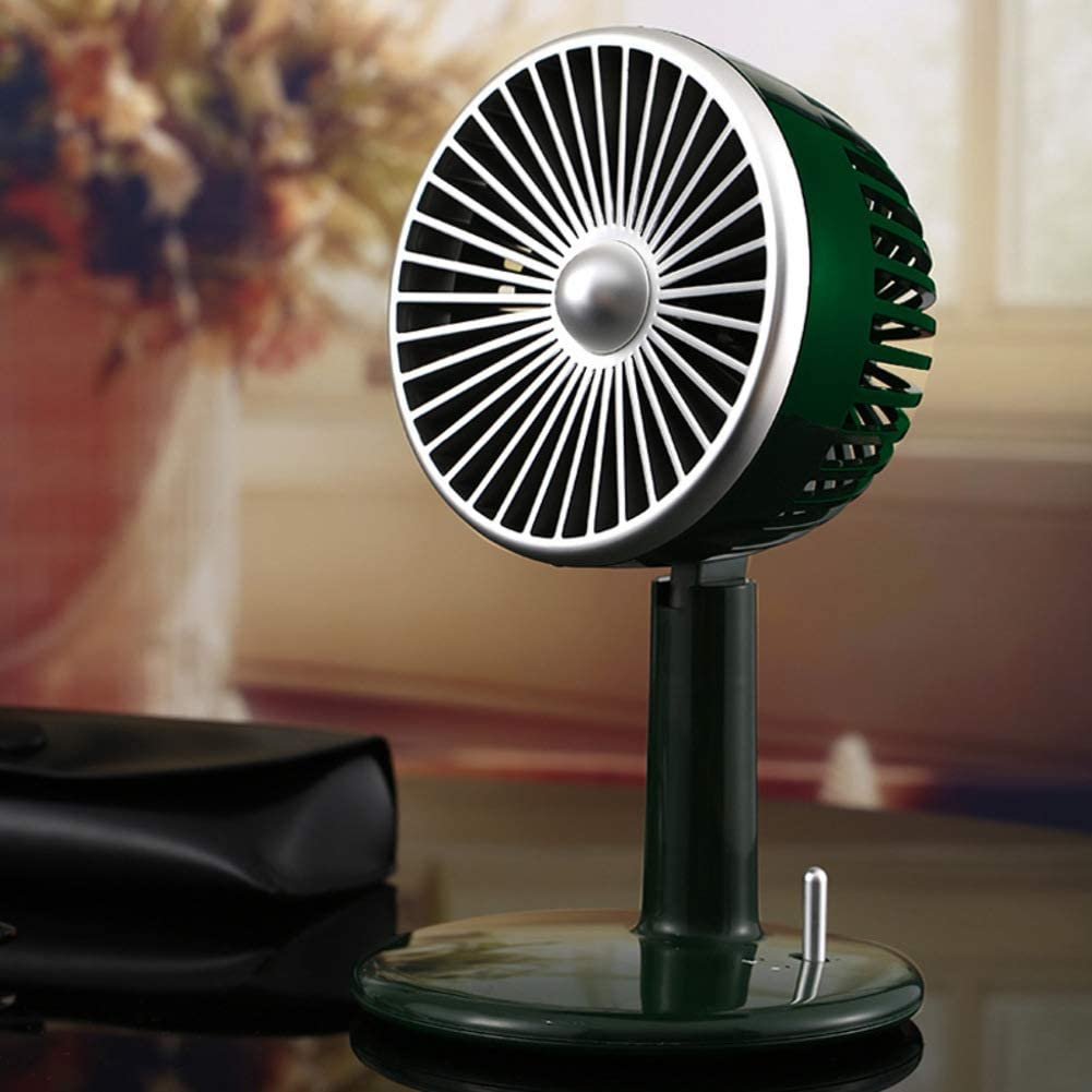 Retro Personal Space Mini Table Fan Usb Charging Air Cooler For Bedroom Portable Desk Fans Noiseless Mobile Handheld Cooling Fan Dark Green 15 15 25cm Amazon Co Uk Kitchen Home