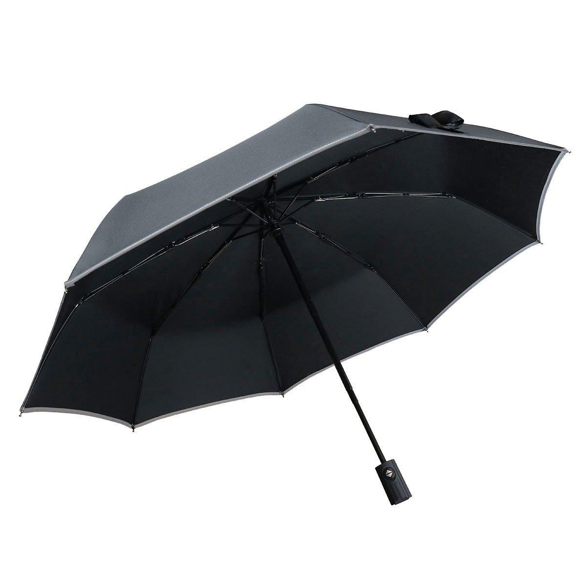 bemece Windproof Travel Umbrella, Compact Lightweight Foldable Automatic Umbrella for Men Women, Auto Open Close - Black