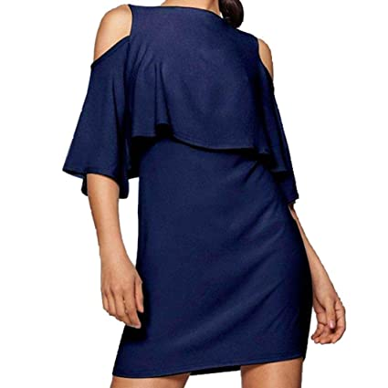 3c00797f706c Manxivoo Women's Cold Shoulder Ruffles Shift Mini Dress Short Sleeve Short  Party Dress (Blue,