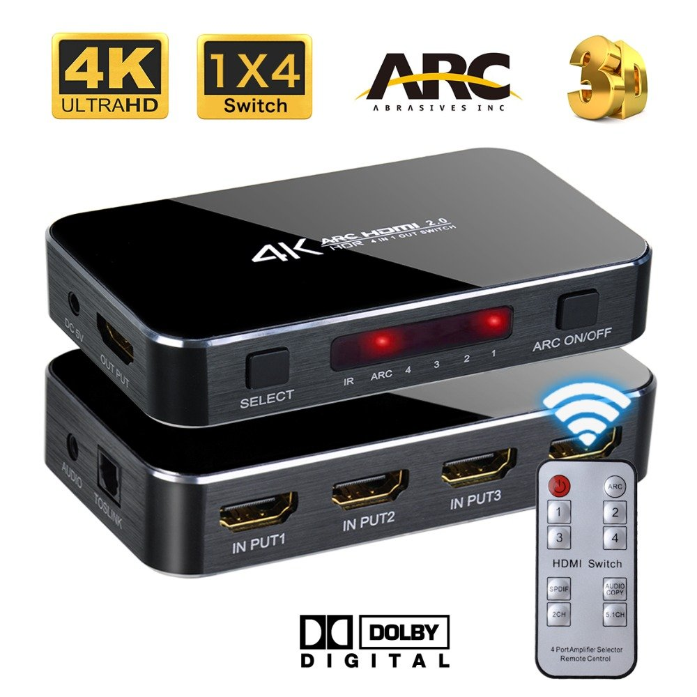 Top 10 Hdmi Switch With Optical Out 2018 Smart Home Devices 3 Port Full Hd 1080p Remote Control Review Chamch 4 In 1 Switcher Ir And Ac Power Adapter Support Ultra