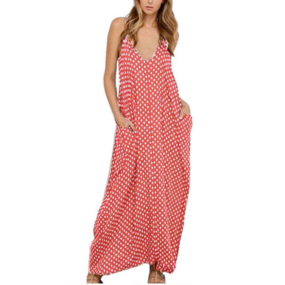 Sunsee Women Dot Printed Pocket Chiffon Boho Long Evening Party Beach Dress (L, Pink)
