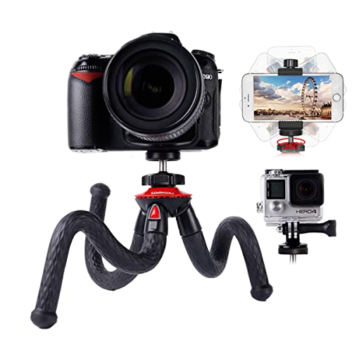 Travel Tripod Flexible Camera Phone Tripod Lammcou Octopus Gorillapod Tripods with Smartphone Tripod Adapter Clamp for Canon Nikon Sony DSLR Gopro Action Cameras Binocular Tripod Mount Stand Holder