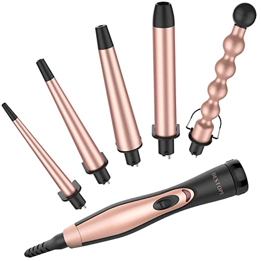 BESTOPE 5 in 1 Ceramic Curling Iron Wand Set with 5 Interchangeable Ceramic Barrels (0.35'' to 1.25'') and Heat Resistant Glove - Rose Gold best curling wand