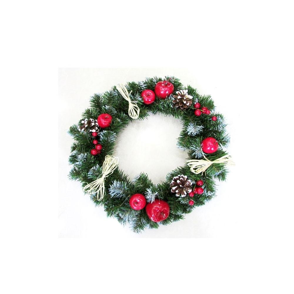 15.7'' Frosted Straw Bows, Apples, Berries & Pine Cones Christmas Wreath
