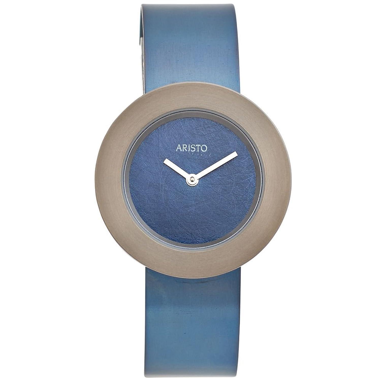 edle Aristo Damen Uhr blau metallic wasserdicht Armbanduhr Uhren Germany