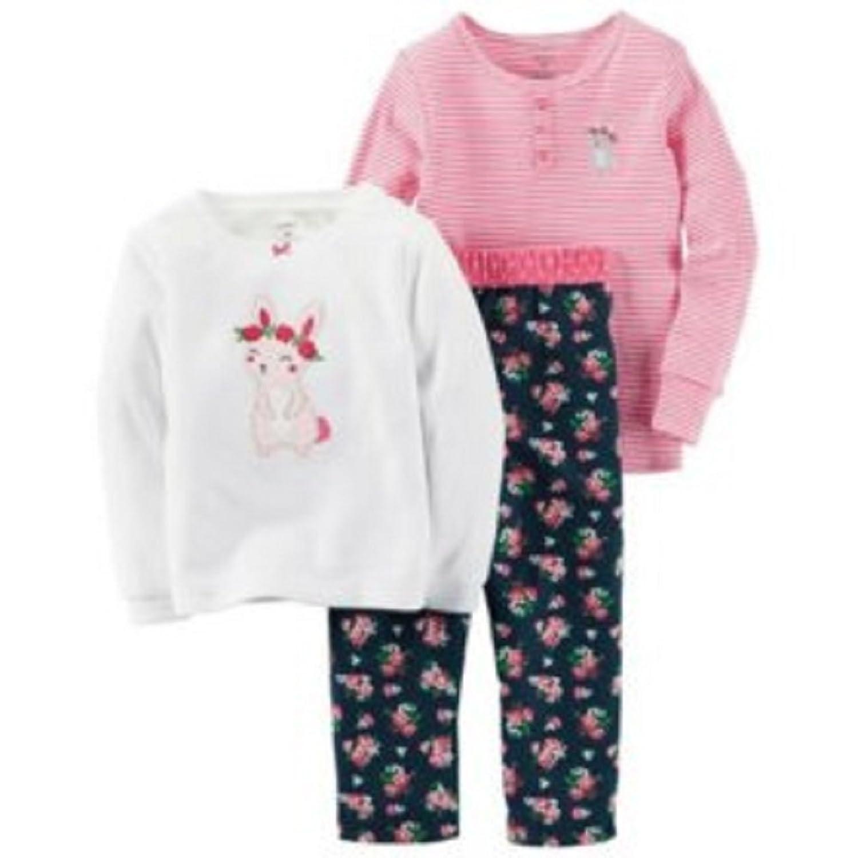 Carter's Little Girls' 3-Piece Long Sleeved Pajama Set (bunny)