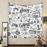 Gzhihine Custom tapestry Video Games Tapestry Arcade Machine Retro Gaming Fun Joystick Buttons Vintage 80s 90s Electronic Bedroom Living Room Dorm Decor 60 W X 40 L Multicolor