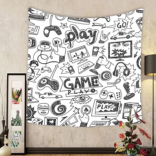 Gzhihine Custom tapestry Video Games Tapestry Arcade Machine Retro Gaming Fun Joystick Buttons Vintage 80s 90s Electronic Bedroom Living Room Dorm Decor 60 W X 40 L Multicolor by Gzhihine