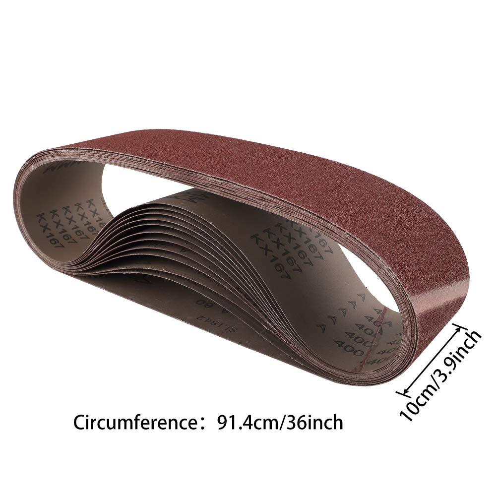 18-Pack Sanding Belts 3 Each of 60 80 120 180 240 400 Grits For Belt Sander Aluminum Oxide Sanding Belt 75x533mm Coceca 3x21inch