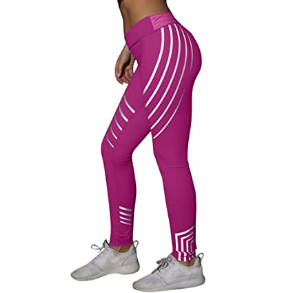 7cd499a348bb6 Amazon.com: Quaanti 2019 Women Waist Yoga Athletic Pants Fitness Leggings  Running Gym Stretch Sports Neon Rainbow Pants Trousers (Hot Pink, L): Arts,  ...