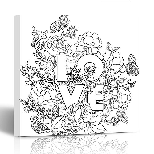 Emvency Painting Canvas Print Wooden Frame Rose Flower with Word Love Outline Drawing Coloring Page Book for Adult 12x12 Inches Wall Art ()