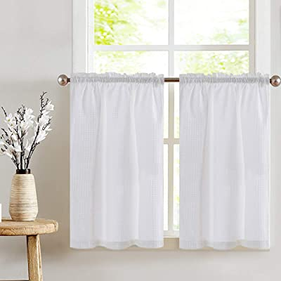 Buy Jinchan White Kitchen Curtains 36 Inch Tier Curtains For Bathroom Waffle Textured Half Window Curtain Set For Living Room Bedroom Light Filtering Drapes Rod Pocket 2 Panels Online In Turkey B06xrp76x1