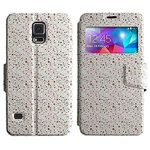 Be-Star Diseño Impreso Colorido Slim Casa Carcasa Funda Case PU Cuero - Stand Function para Samsung Galaxy S5 V / i9600 / SM-G900F / SM-G900M / SM-G900A / SM-G900T / SM-G900W8 ( Strings And Circles )