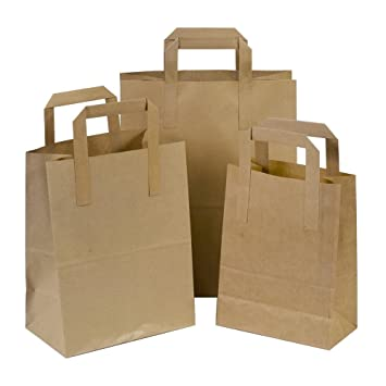 25 x marrón Sos Take Away/regalo bolsas de papel con asas planas – 18 cm x 23 cm x 9 cm (Small) Unipack Brand – Unibags