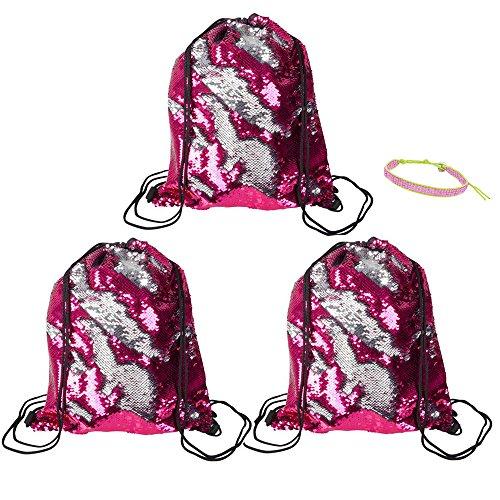 (Mermaid Sequin Drawstring Bag, Flip Sequin Bag and 1 Beaded Bracelet - Travel, Party Favors, Prizes, Beach, Poolside, Hiking, Gym, School Spirit, Cheerleading, Dance, Gymnastics (3 Bags, Pink/Silver))