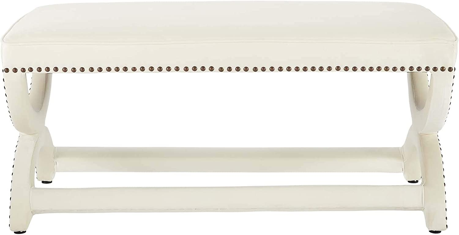 Modway Expound Performance Velvet Upholstered Nailhead Trim Accent Entryway Bench in Ivory