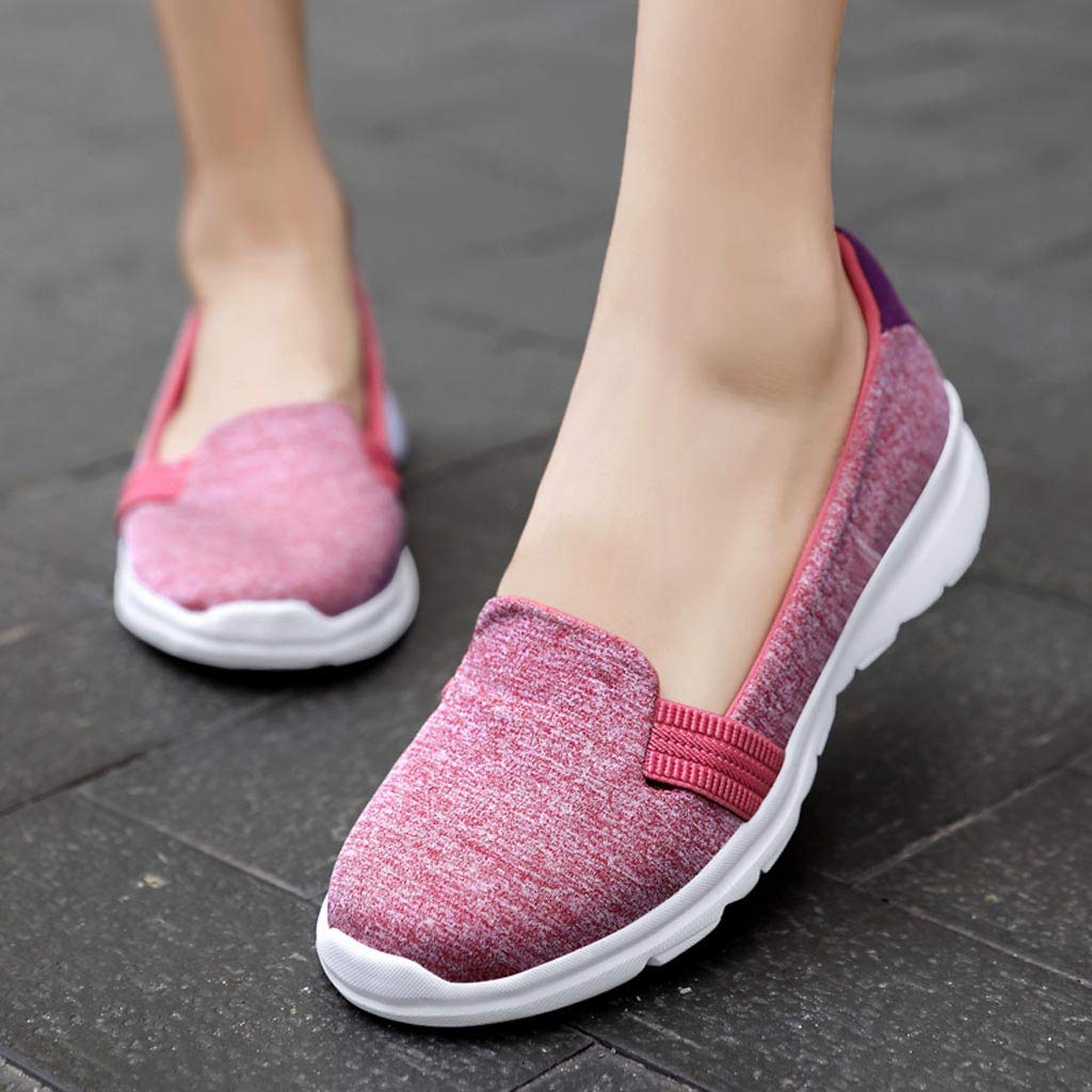 Siswong Mode Ballerines Femme Chaussures Lazy Mocassins Respirantes Chaussures Plates de Couleur Unie Confortables Chaussures polyvalentes