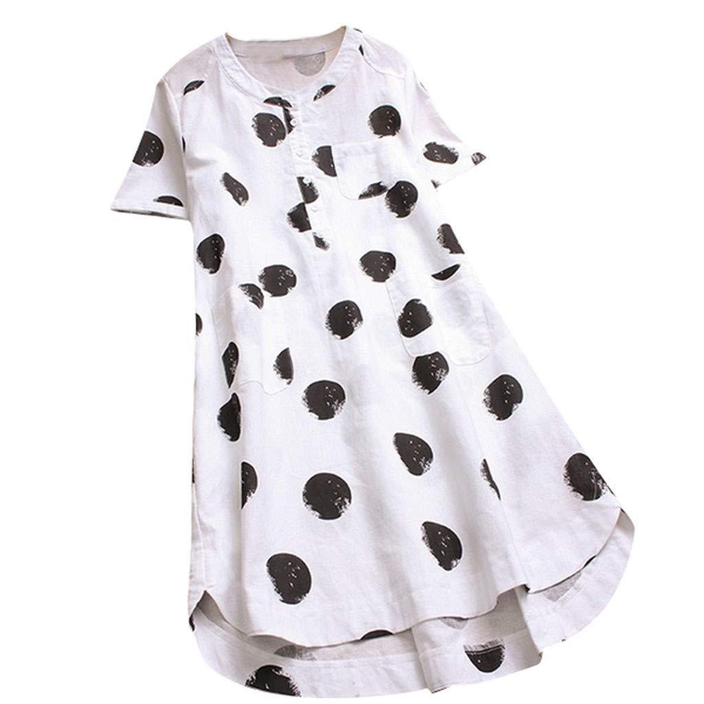 Pervobs Women Summer Polka Dot Short Sleeve O-Neck Layered Button Long Shirt Tops Blouse Tunic(US:10, White)