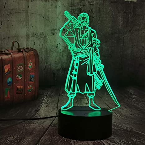 Amazon Com One Piece Roronoa Zoro 7 Colors Changing Table Action Figures Lamp Luffy Usb Led Desk Light Japanese Anime One Piece Nightlight Gift Cool Bedside Table Lamp Model Toys Christmas Lampara Zoro Home
