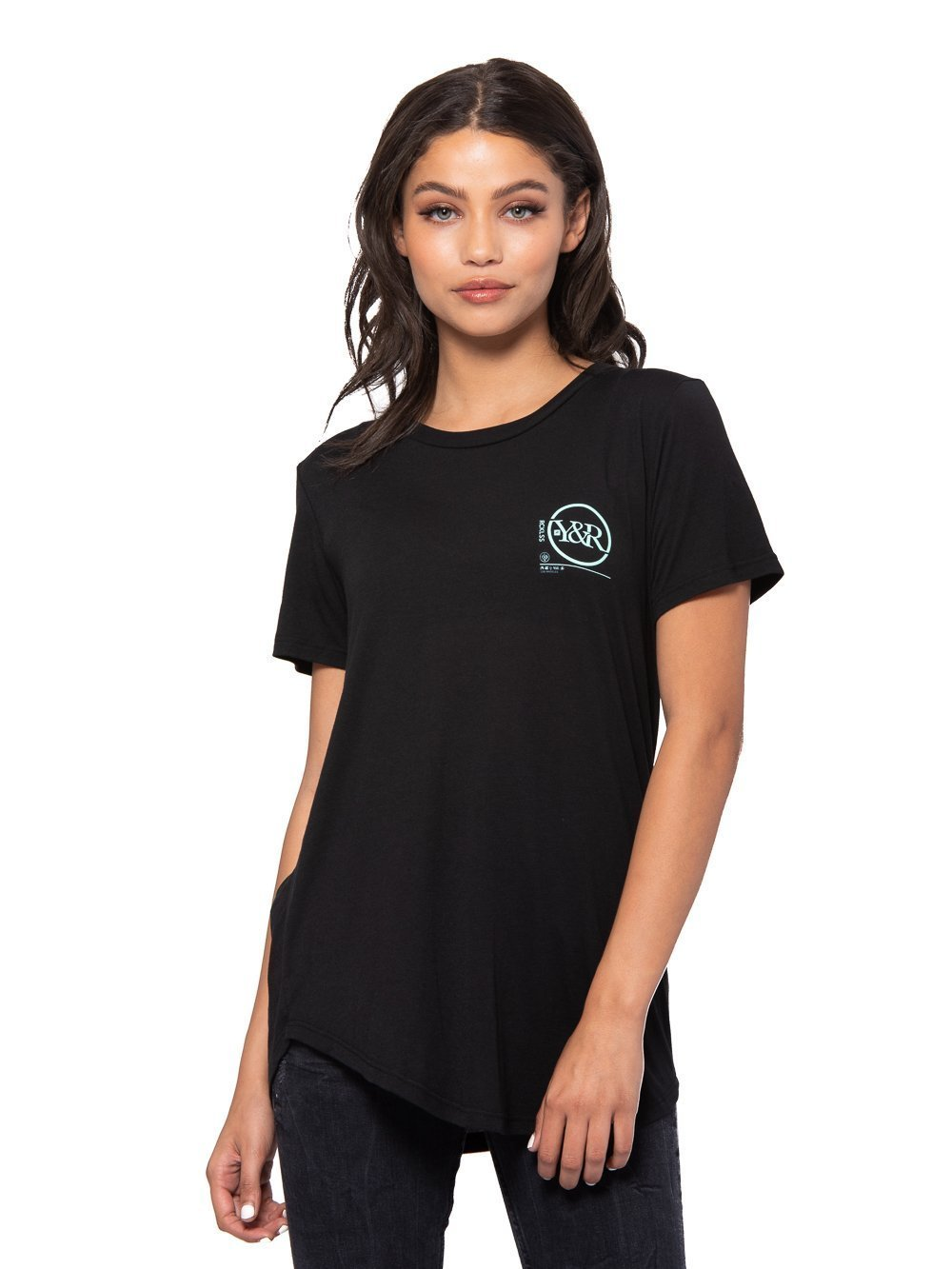 Young Reckless - Perspective Long Scoop Tee - Black - S - Womens - Tops - Tees - Black