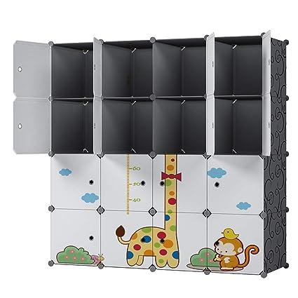 KOUSI Portable Closet Storage Cubes TMSG-B (Black&White, 16 Cubes(Giraffe))