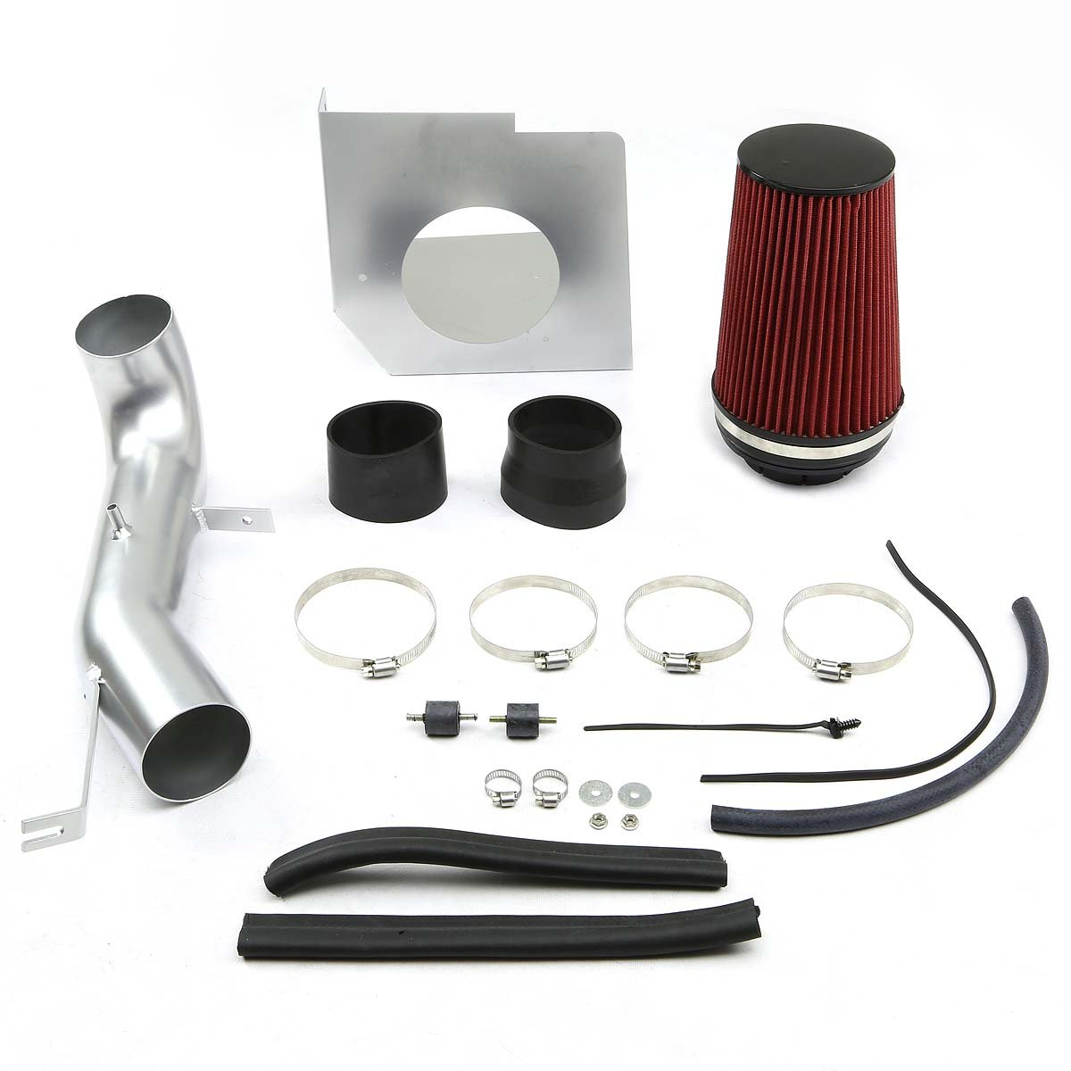DNA MOTORING Silver CAIP-3-HS-YUKON07-SLSL Cold Air Intake Pipe+Heat Shield System for 07-08 Escalade ESV EXT//Silverado//Sierra