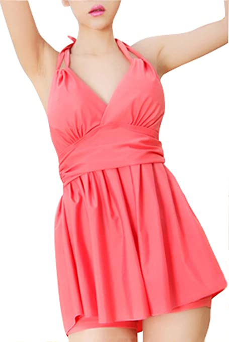New Listed Women's Sweet Skirt Type Swimsuit Sexy V-Neck Two-Piece Swimwear-Pink (XL)