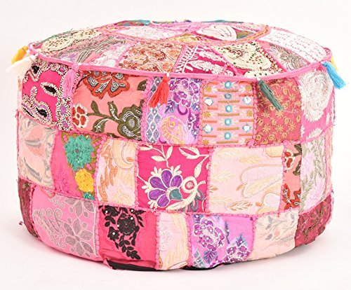 khushvin Handmade Pouf Indian Patchwork Foot stool Ottoman 22x14 Bohemian Indian Patchwork Ottoman pink Vintage Sari Patchwork Ottoman Traditional Ottoman by khushvin
