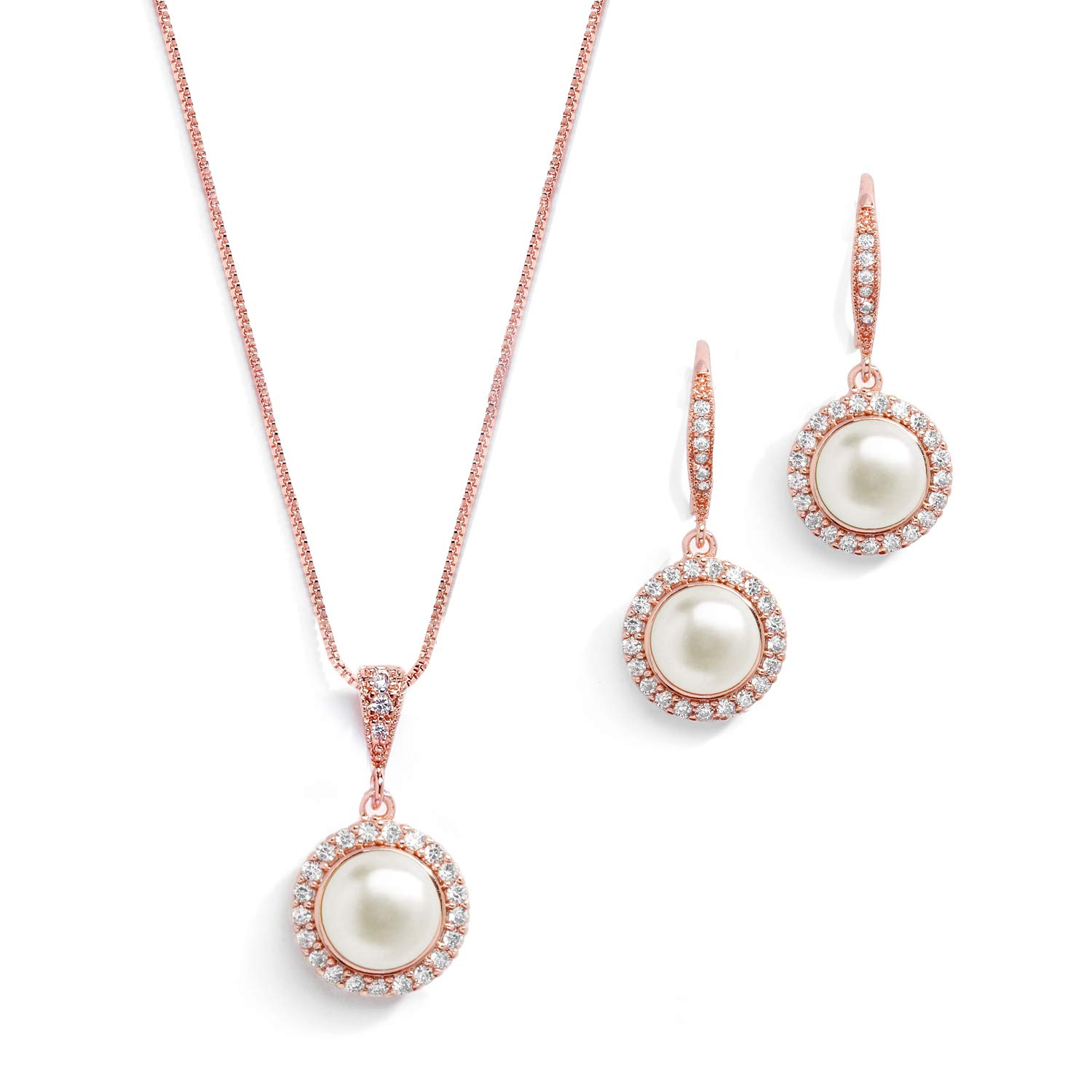Mariell Freshwater Pearl Wedding Necklace & Earrings Rose Gold Halo Jewelry Set for Bridesmaids & Brides