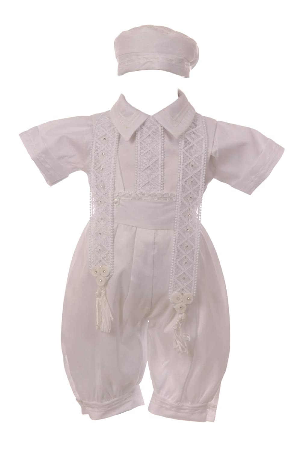Baby Toddler Boys White Christening Baptism Set Outfit Poly Shantung Suspender Hat Stole
