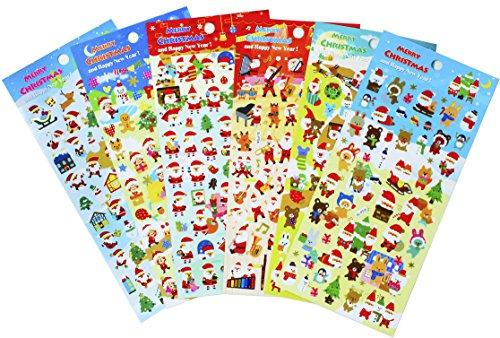 [Christmas Santa Claus Stickers 6 Sheets with Snowman and Reindeer Happy Faces Kids Stickers Toys Gifts - 300] (Monkey See Monkey Do Costume)