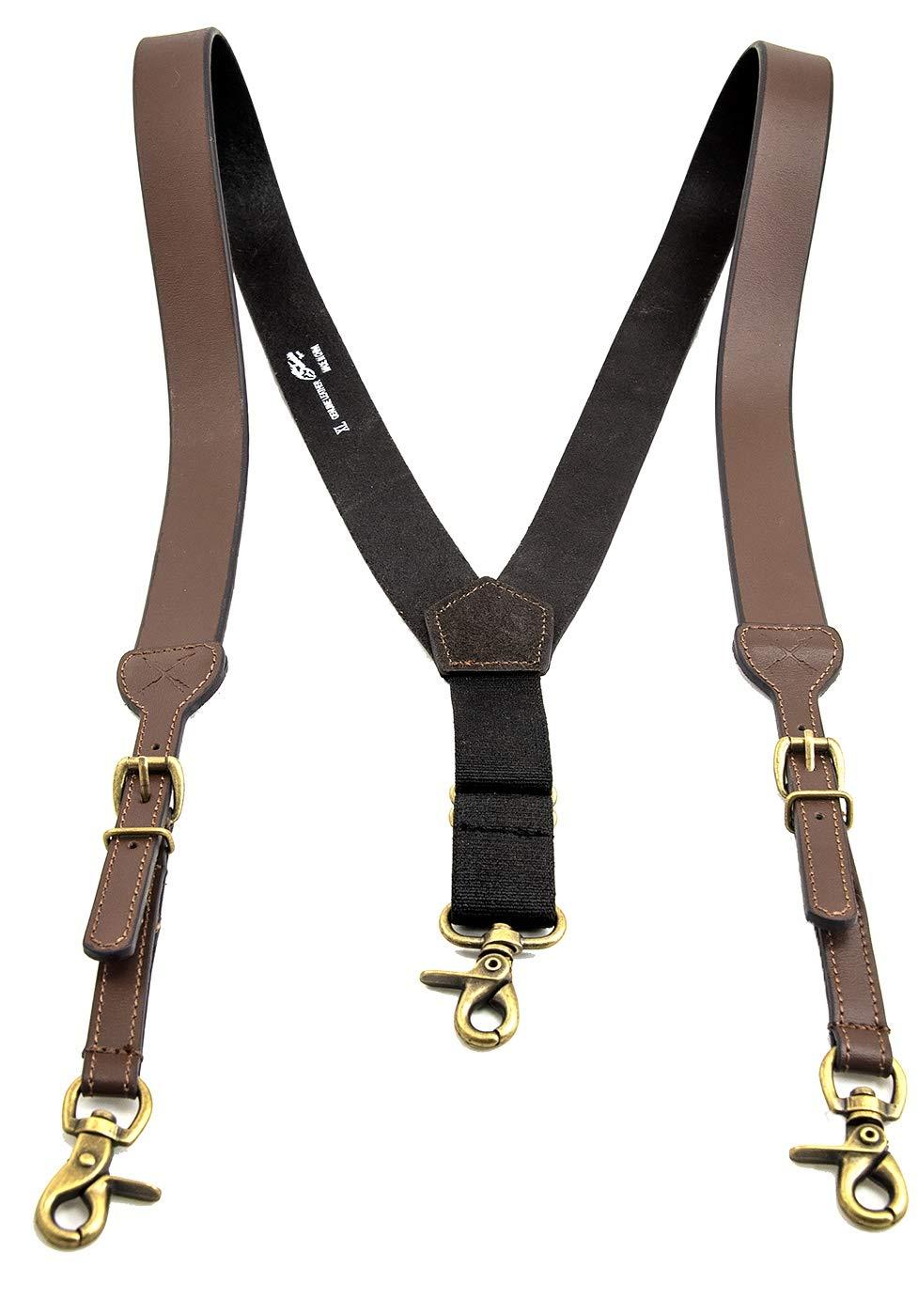 Men's Smooth Leather Suspenders Adjustable Elastic Strap Scissor Hook Snaps Y Backed (Brown, X-Large)
