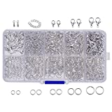 Outus Silver Jewelry Findings Kit Lobster Drop Clasp, Open Jump Rings, Jewelry Tail Chain, 710 Pieces