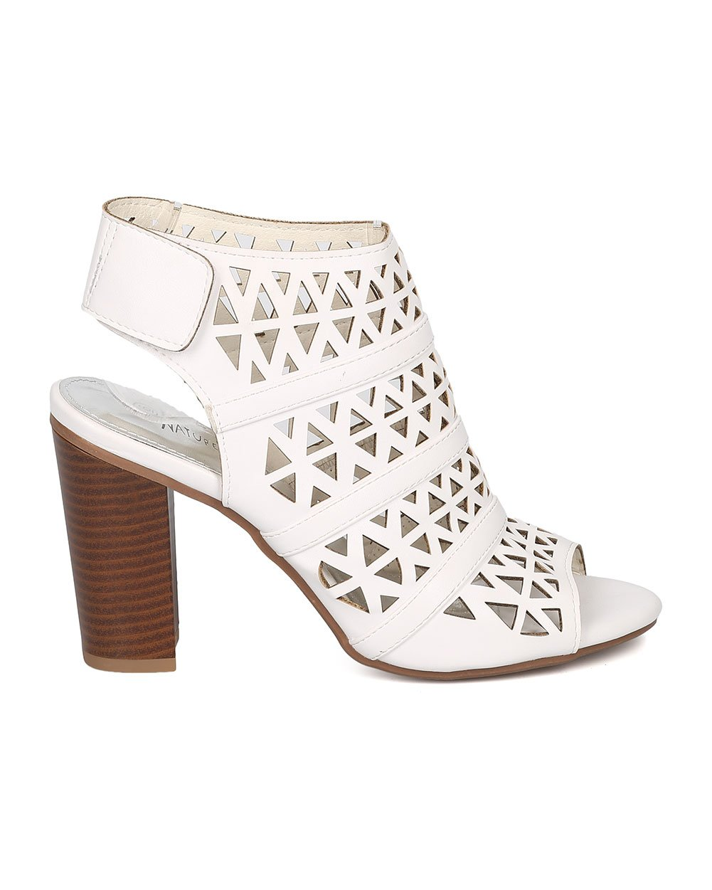 Women Leatherette Peep Toe Perforated Chunky Heel Slingback Mule GG78 - White (Size: 6.5) by Nature Breeze (Image #2)