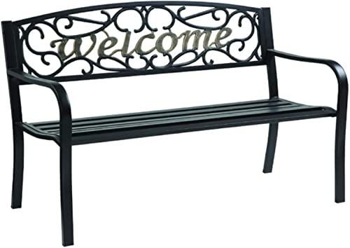 Living Accents Park Bench Welcome 50.5″ W X 23.5″ D X 33.5″ H Cast Iron