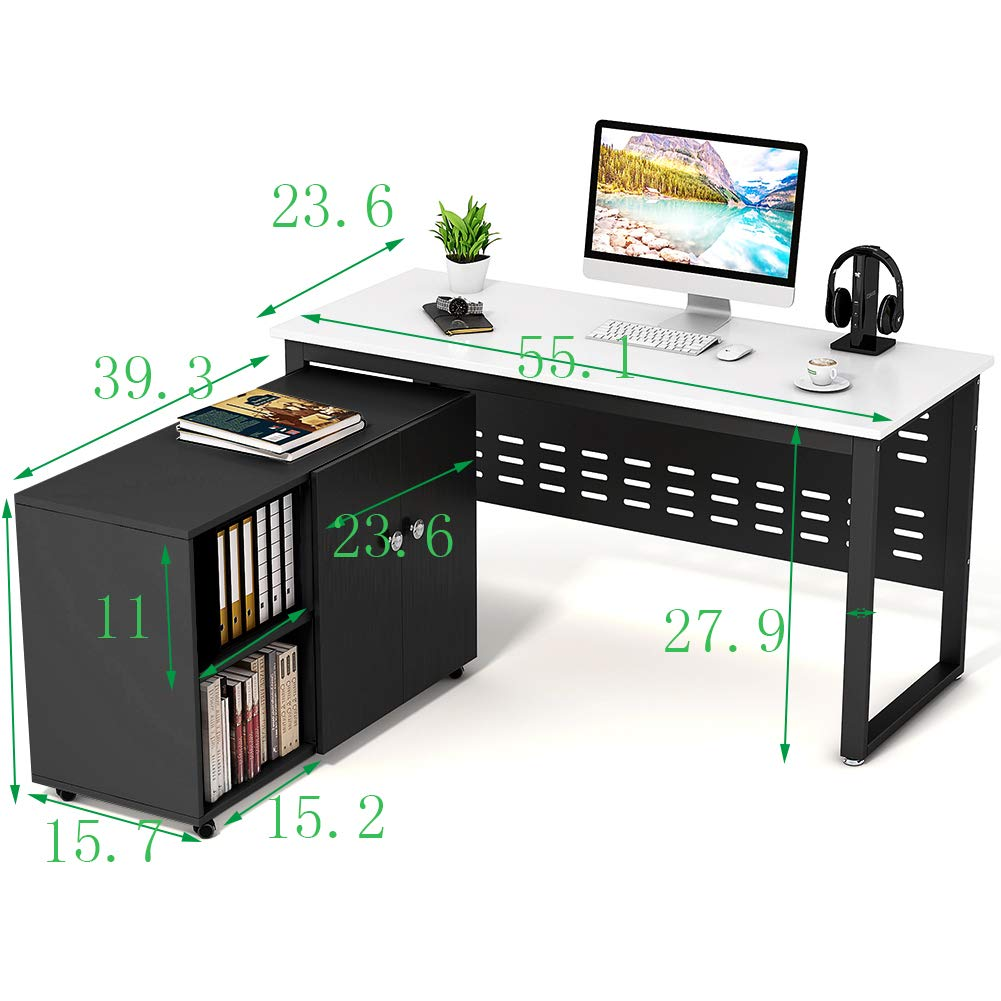 Tribesigns 55 inch Computer Desk,L-Shaped Desk with Cabinet Storage, Office Writing Desk with Bookcase &Printer Stand for Home Office by Tribesigns (Image #7)