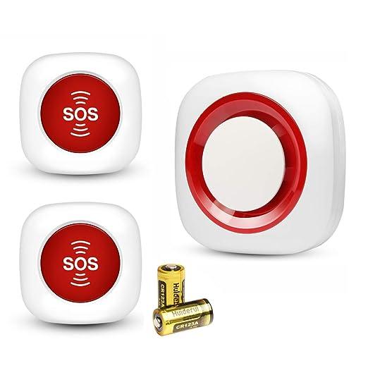 Pflegeruf Set Hausnotruf Notruf für Senioren Krankenpflege Ältere Panikalarm Funkalarm SOS Alarm Kabellos mit Batterien