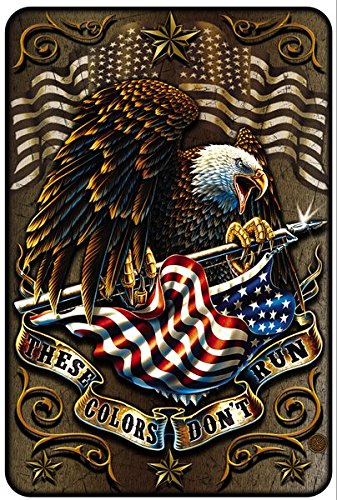 Patriotic Metal (Patriotic Wall Décor Signs, American Metal Sign (These Colors Don't Run) US Army Parking Sign & Patriotic Man Cave Décor– 8x12 Metal Wall Art Décor – American Gifts for Men or Women, Metal Bar Sign)