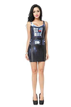 Frauen Mode schlanke EWOK Gedruckt kurzes Kleid(Weste Kleid ...