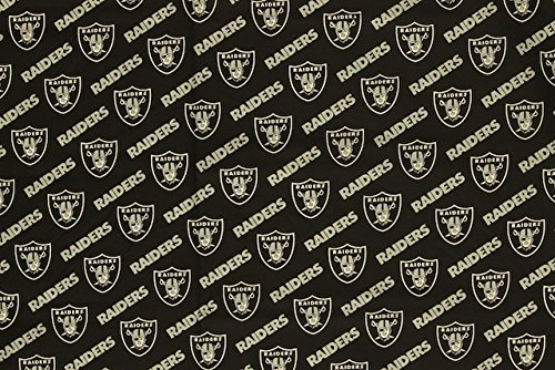 Cotton Oakland Raiders Fabric - Oakland Raiders Football Black Sheeting Fabric Cotton 5 Oz 58-60