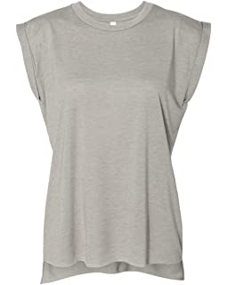 363cd081aee Bella + Canvas Women s Flowy Muscle Tee with Rolled Cuff at Amazon ...