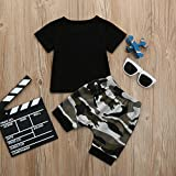 Unpara Toddler O- Neck Letter T Shirt Tops + Camouflage Shorts Outfits For Baby Little Boys Clothes Set Casual