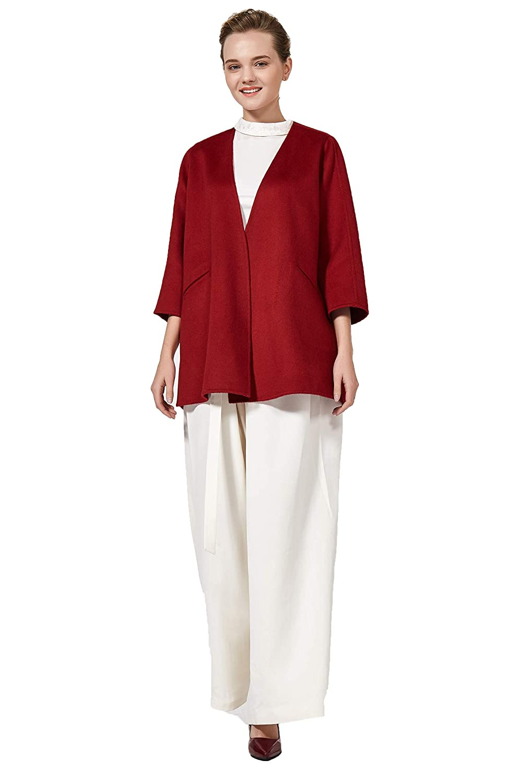 VOA Red Regular Short SevenPoint Sleeve Straight Pocket Loose Cashmere Coats
